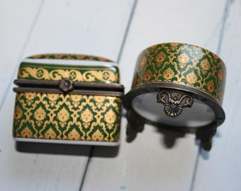 Vintage Jewelry Box Green & Gold Porcelain Hand Painted Roses Trinket Casket Ormolu Accent Snap Closure