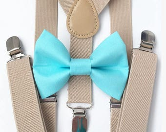 FREE DOMESTIC SHIPPING! Tan suspenders + Aqua Blue Bow Tie gold family photos photo prop holiday picture