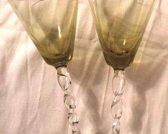 Pair of vintage hand blown wine glasses