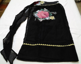 Vintage Apron,  black fancy apron, mid century, retro, homemade, FREE Shipping!
