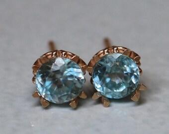 14k Blue Zircon Rose Gold Earring Studs - Elegant 5mm Genuine Zircon Stud Earrings - Rose Gold Studs