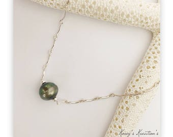 Sterling silver tahitian pearl necklace