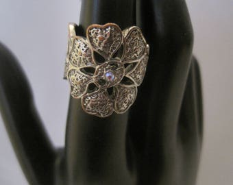 Silver Tone Floral Ring