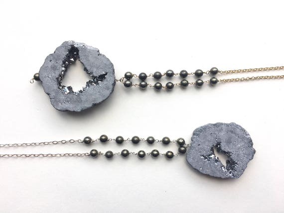 Agate Druzy and Pyrite Long Necklace // Sterling Silver or 14k Gold Plated