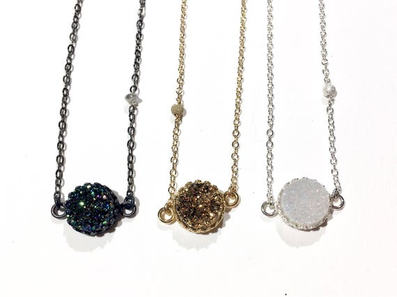 Genuine Druzy Choker Necklace // Sterling Silver, Oxidized Sterling or 14k Gold Filled