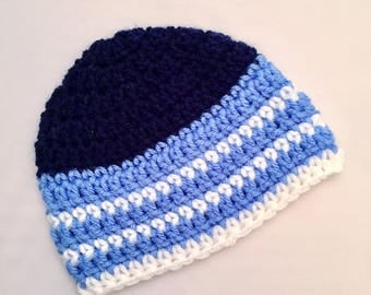 Boys Newborn Baby Beanie Ready To Ship Boys Hat Blue White Crochet Baby Beanie Baby Shower Gift Baby