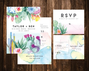 Bright Watercolor Succulent Wedding Invitations; Destination Wedding; Printable OR set of 25