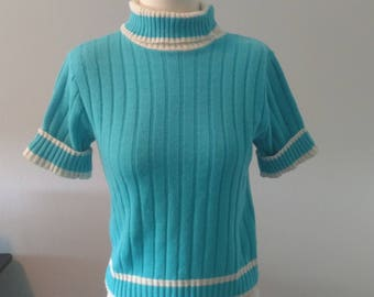 Vintage Short Sleeved Turquoise Sweater