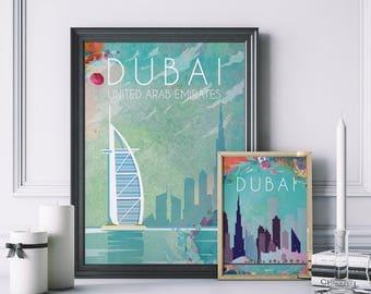 Dubai Skyline Poster Etsy