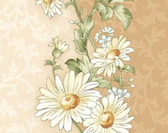Daisies,Tan, Beige Floral Border Stripe, Gentle Breeze, Jan Douglas, Maywood (By YARD)~