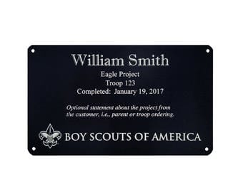 Scout Project Marker - 3 x 5 or 5 x 7 - Eagle Scout, Girl Scout Gold, Venture Summit, Community Projects - Anodized Aluminum