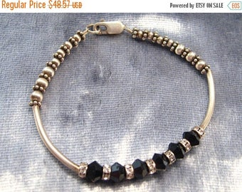 ON SALE Vintage Bracelet Sterling Silver and Faceted Onyx  Beads Small to Medium Wrist 6 Inches #B-1