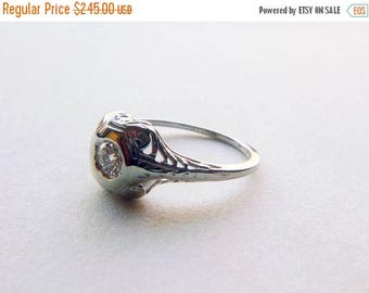 ON SALE Art deco filigree antique engagement OEC moissanite ring .10 tcw 18K white gold size 5.75