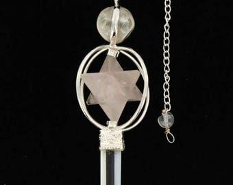 ON SALE Rose Quartz Pendulum Big Mercaba and quartz Point