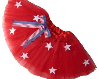 July 4th Tutu . Infant . Toddler to 6X . Stars and Bow . Red Tutu . Royal Blue Tutu