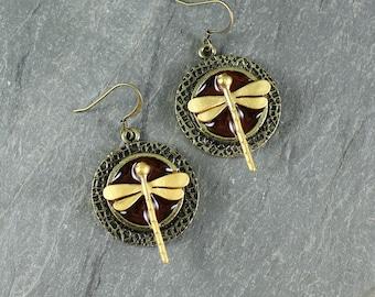 Dragonfly in Amber ~ earrings ~ Outlander Inspired