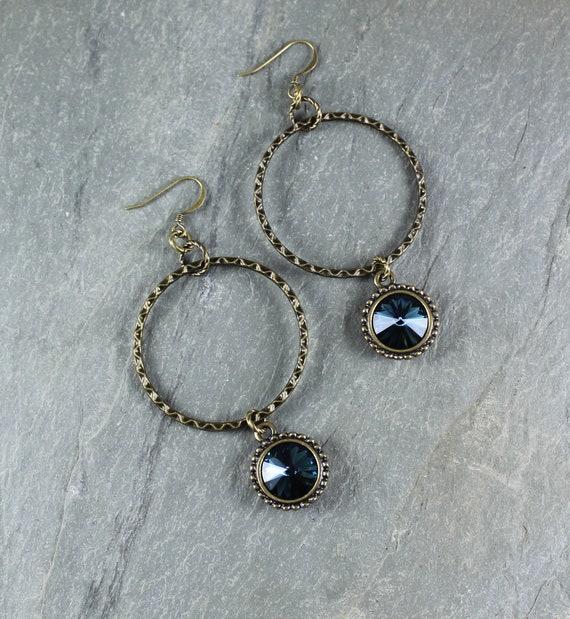 Dark Montana Blue Swarovski Crystal hoop earring