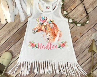 Horse Birthday, Personalized Baby Gift, Custom Baby Gift, Boho Horse Bodysuit, Niece Gift, Cute Girl Clothes, Cute Girl Gifts, Pony Party