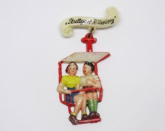 1940s German Celluloid Souvenir Brooch Couple in Gondola Lift Novelty Brooch Festival of Lights Stuttgart Killesberg Souvenir