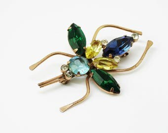 1950s Coro Sterling Silver Rhinestone Bug Brooch Blue Green Yellow Teal Insect Brooch