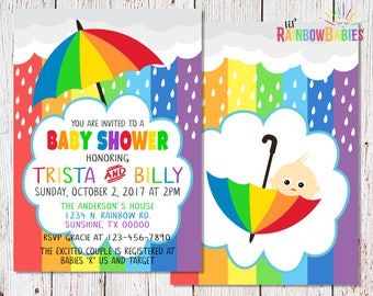 Rainbow Baby Shower Invitations, PRINTABLE Baby Shower Invitations, Rainbow  Themed Baby Shower Invitation,