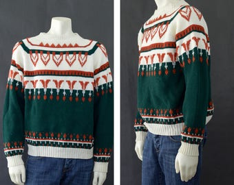 Vintage Nordic Ski Sweater, 70s Scandinavian Style Sweater, Pull Over Sweater, Gift for him, VTG JCPenney Sweater, Unisex Size Medium