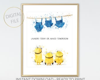 Minions Laundry Sign, Minions Naked, Funny Bathroom Signs, Laundry Print, Bathroom Wall Decor, Laundry Room Art, Minions Watercolor Print
