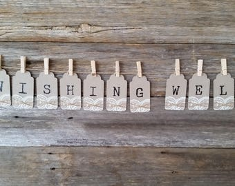 WISHING WELL - Rustic Lace and String Bunting Tags Sign, 9cmx4.5cm