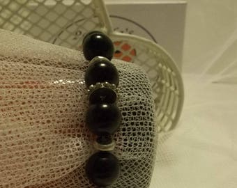 Black and Silver Bead Stretchy Bracelet