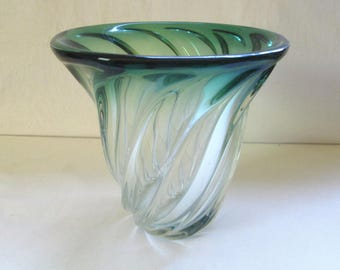 Vtg Val Saint Lambert Crystal Vase 1970s Low height Green Clear