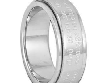 FLASH SALE 7MM Serentiy Prayer Spinner Ring Men's Women's or Child's Stainless Steel Band with Inside Custom Engraving