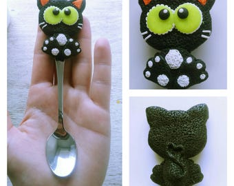 Spoon Spoon with decor black cat Spoon with cat Spoon on a gift Original gift Baby spoon Coffee spoon Spoon Present Idea for gifts Children