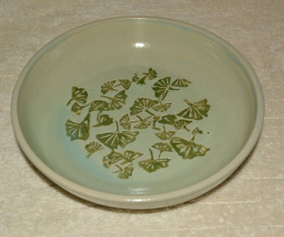 Bowl, Dish, Ginkgo Leaves, Mint, Green, Stoneware, Dining, Flower Floating Bowl, Kitchen, Home Decor,