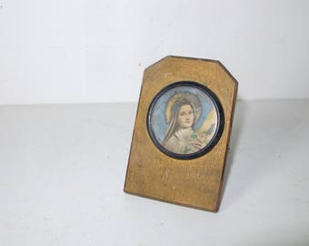 Antique French gold wooden reliquary  of Virgin Mary //