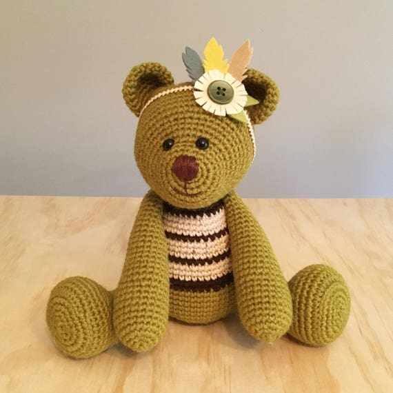 Oakey Boho Bear Crochet Amigurumi Soft Toy Teddy