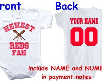 Cincinnati reds baby etsy baby bodysuit newest fan reds customized personalized name number one piece bodysuit funny baby child boy negle Image collections