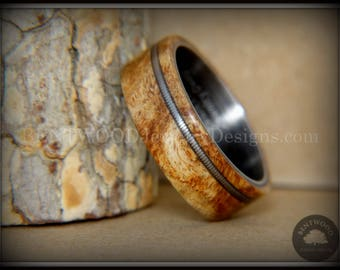 Bentwood Wood Ring - Maple Burl on Onyx Black Surgical Stainless Steel with Silver Guitar String Inlay