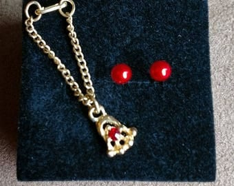 MINT RARE Vintage Barbie Necklace 1962 Cleiman & Sons Red Ruby Necklace With FREE earrings!