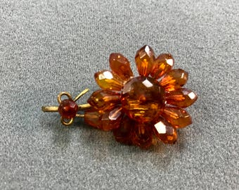 Antique Victorian Amber Flower Rolled-gold Brooch-as is. Free shipping