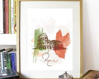 Rome Print, Rome Skyline, Rome Art, Rome Poster, Rome Watercolor, Rome Art, Rome Map, Rome Wall Art, Italy Art