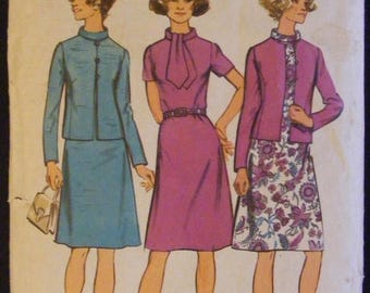 ON SALE 35% OFF 1972 Simplicity Sewing Pattern 5394 Misses' Dress / Jacket Size 14 Bust 36""