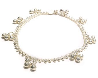 Anklets with bells and silver beads