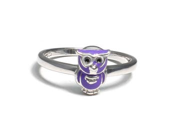 Children's Ring of 925 sterling silver with Violet Owl