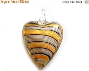 HALF PRICE Yellow Striped Glass Heart Focal Bead - Statement Bead