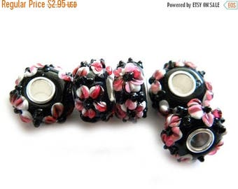HALF PRICE 5 Pink Flower Glass Large Hole Silver Core Beads For European Charm Bracelets Etc