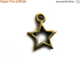 HALF PRICE 10 Small Open Bronze Star Charms 12mm