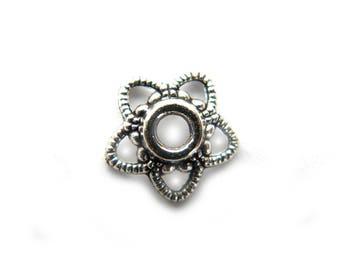 100 Silver Star Bead Caps - 11mm BULK PACK