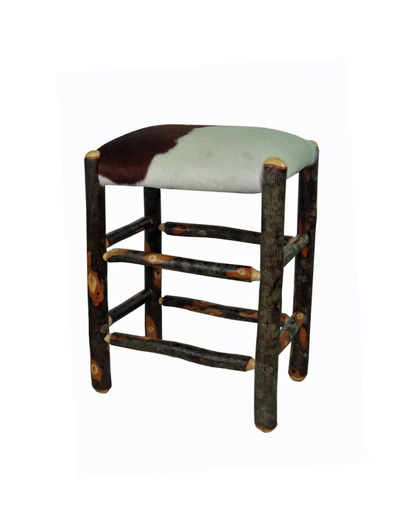 24 Inch Real Cowhide Rustic Hickory Upholstered Bar Stool No