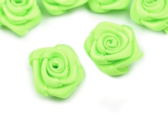 10 small flowers green lime satin 15 mm