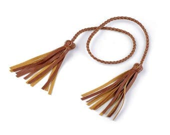 Cord double brown leather tassel